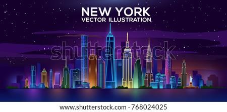 new york night skyline vector