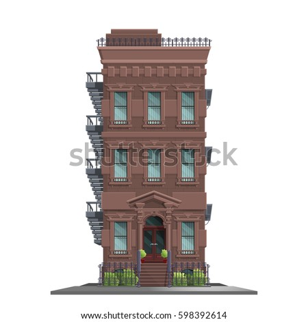 New York old manhattan house with stairs. Old abstract building and facade isolated on white background. Vector illustration.