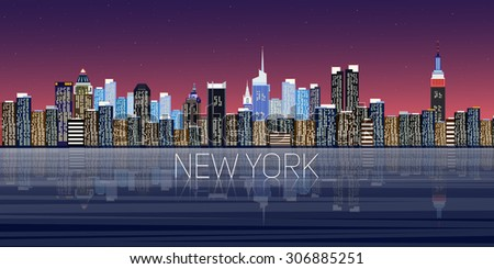 new york panorama city vector