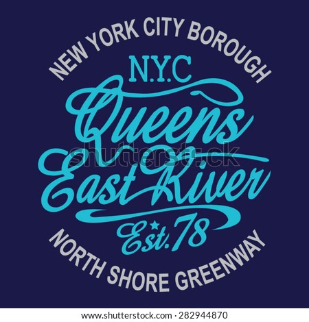 new york queens typography  t