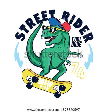 New York Skater dinosaur. Dinosaur,skateboard vector print. Fun t-shirt design for kids.Cute Dinosaur character design.