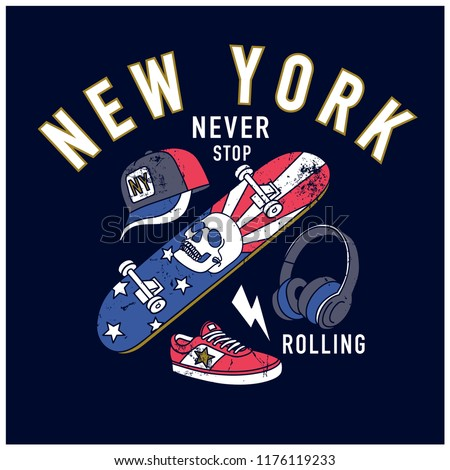 New York skater graphic design.Skateboard,cap,shoes,headphone drawing.Skateboard print.Vector illustration design for fashion fabrics, textile graphics, prints, wallpapers and other uses.