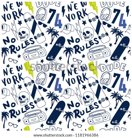 New York skater seamless pattern. Skateboarding elements drawing. Vector illustration design for fashion fabrics, textile graphics, prints, wallpapers and other uses.