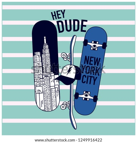 New York skaters. Skateboards drawing.Fun t-shirt design for kids.Vector illustration design for fashion fabrics, textile graphics, print.
