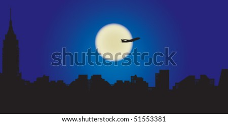 New York skyline during night, plane is flying over the moon.