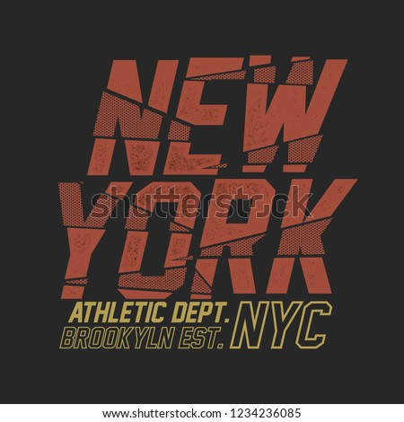 New York  Sliced Sport Slogan . Typography Slogan College With Badge, Pin, Patch Soldier T-shirt and apparels print graphic vector Varsity typography