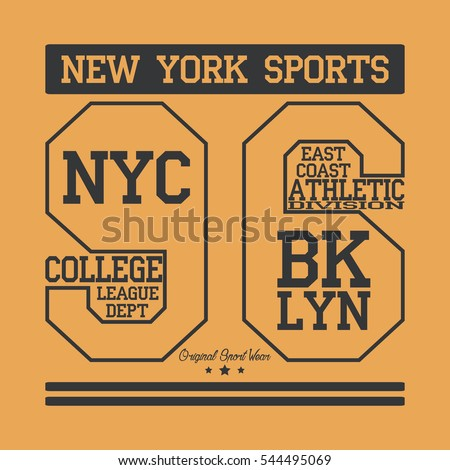 new york sport wear typography