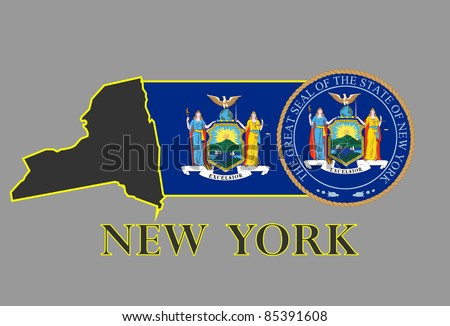 New York state map, flag, seal and name.