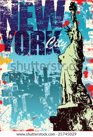 New York Statue of Liberty in a Grunge Style Layout