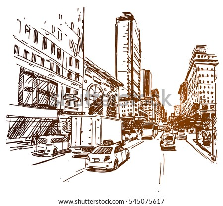 Shutterstock New York 5th Ave sketch
