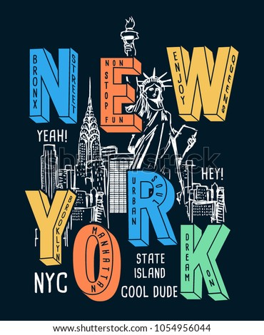 new york theme vectors for t