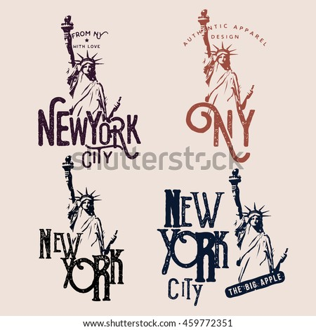 New York themed badges, t-shirt prints / apparel designs. Labels with Statue of Liberty.