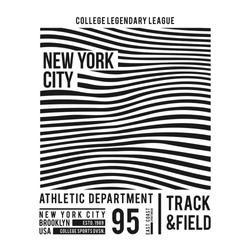 New York typography for t-shirt print. Abstract lines with text for modern tee shirt graphics in varsity style. Vector