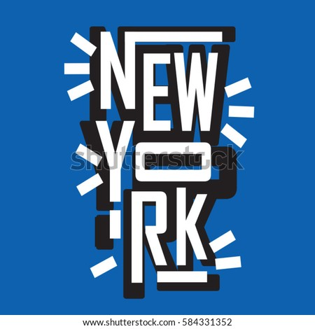 New York typography, tee shirt graphics, vectors
