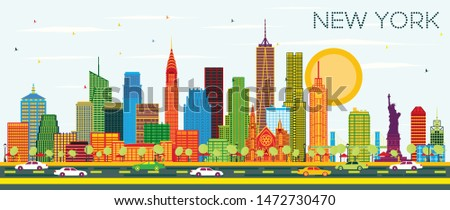 New York USA City Skyline with Color Skyscrapers and Blue Sky. Vector Illustration. Business Travel and Tourism Concept with Modern Architecture. New York Cityscape with Landmarks.
