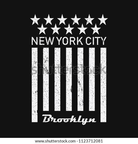 New York USA Flag Vintage T-Shirt Design Black and White Grunge. Vector.