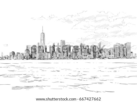 New York. USA. Hand drawn city sketch. Vector illustration.
