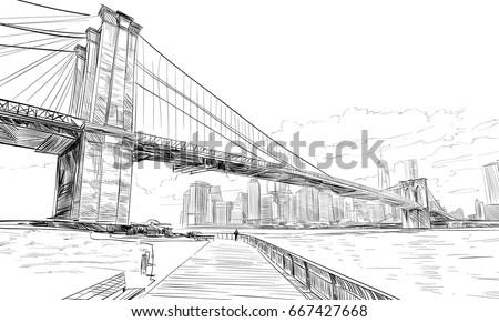 new york usa hand drawn city