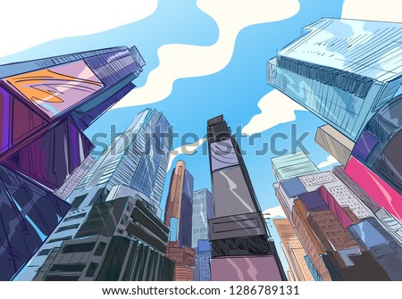 New York. USA. Hand drawn city. Urban sketch. Unusual perspectives. Vector illustration.