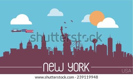 new york usa skyline silhouette ...
