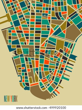 new york vector map. colorful...