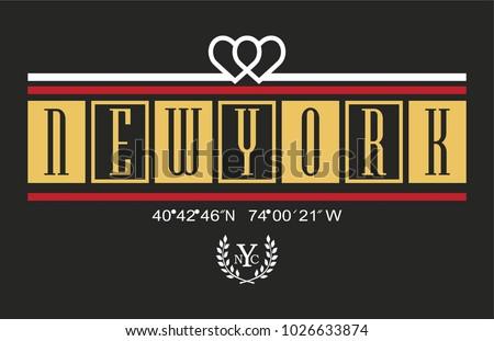 New York writing typography, tee shirt graphics, slogan, vector