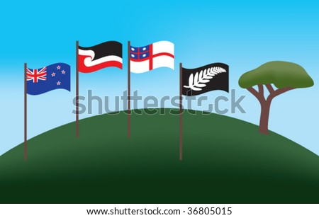 New Zealand and Maori Flag on One Tree Hill
