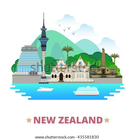New Zealand country flat cartoon style historic place web vector illustration. World travel sight Australia collection. Parliamentary Library Sky Tower Wellington Cenotaph Beehive Parliament Building.
