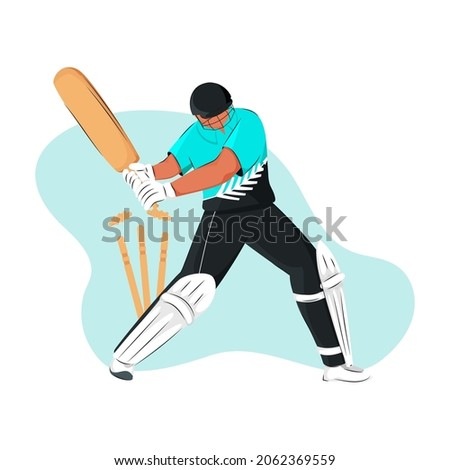 New Zealand Cricket Batter Losing His Wicket On Blue And White Background.