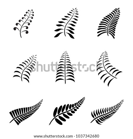 New Zealand Fern Leaf Icon Tattoo and Logo with Maori Style Koru Design