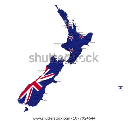 New Zealand highly detailed political map with national flag isolated on white background.