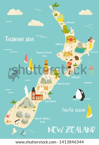 New Zealand illustrated map with famous landmarks, animals, symbols. For prints, tourist posters, travel guides, festivals