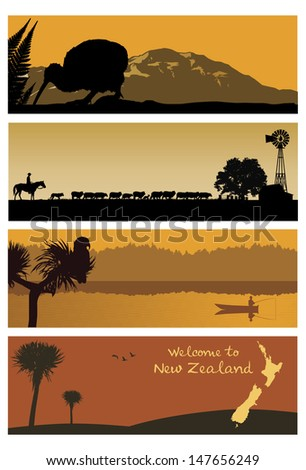 new zealand landscapes  vector