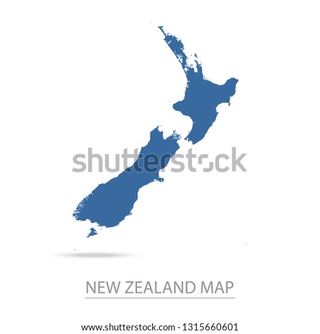 New Zealand map. Blue New Zealand map and Country name . Vector map on gray background. Map of Oceania . Eps10.