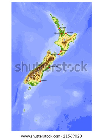 New Zealand. Physical vector map, colored according to elevation, with rivers and selected cities. 38 layers, fully editable. Data source: NASA