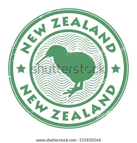 new zealand stamp, vector illustration