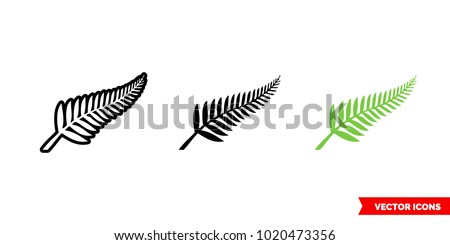 New zealand symbols icon of 3 types: color, black and white, outline. Isolated vector sign symbol.