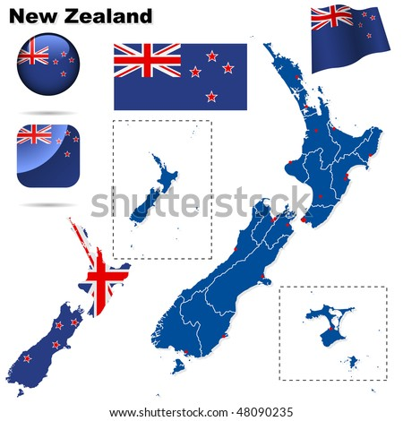 New Zealand vector set. Detailed country shape with region borders, flags and icons isolated on white background.