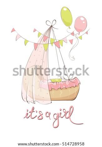 newborn baby girl in cradle