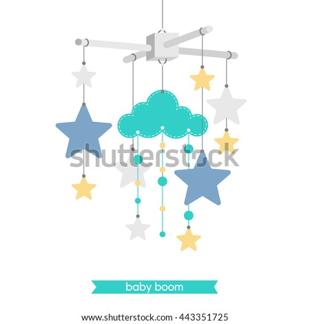 Newborn card. Illustration of baby mobile: cloud and stars. Vector baby shower invitation. Vector hanging baby toy.