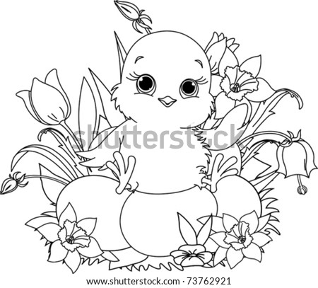 Easter Coloring Pages on Newborn Chick Sitting On Easter Eggs   Coloring Page Stock Vector