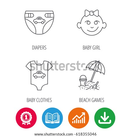 Newborn clothes, diapers and baby girl icons. Beach games linear sign. Award medal, growth chart and opened book web icons. Download arrow. Vector