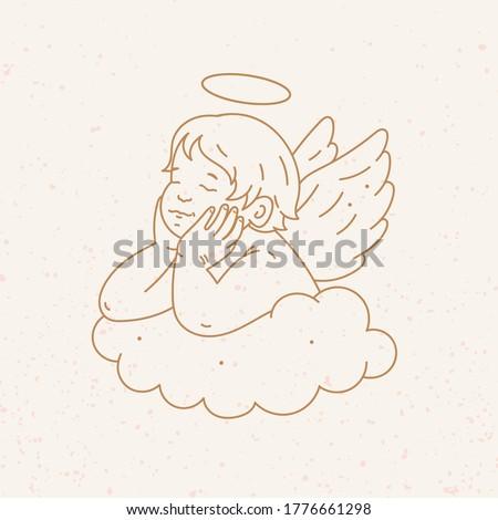 newborn cupid little baby with