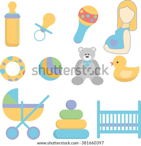 Newborn icons set. Sweet colors. Child staff icons. Vector stock illustration