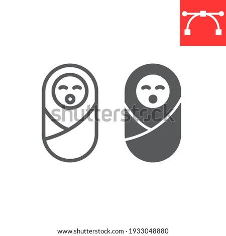 Newborn line and glyph icon, baby and infant, neonate vector icon, vector graphics, editable stroke outline sign, eps 10 Stock photo ©
