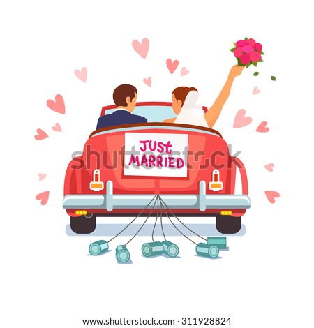 Newlywed couple is driving a vintage convertible car for their honeymoon with just married sign and cans attached. Flat style vector illustration isolated on white background.