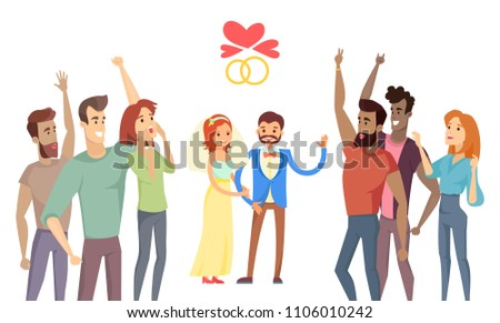 Newlyweds and their friends on festive ceremony vector illustration with hearts wedding rings icons, cheerful crowd of people celebration party concept