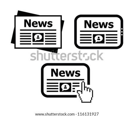 Newpaper, news on tablet icons set