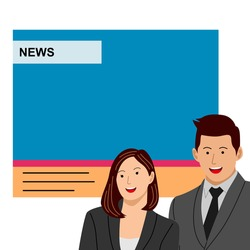 News anchor men and woman headline tv. Breaking news - News announcer in the studio. Vector flat illustration