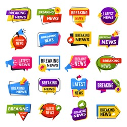 News announce. Advertising breaking special offers geometric reports vector badges templates. Illustration of news template banner, breaking announce